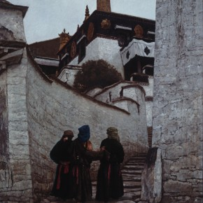 "01 Sun Jingbo, ""Female Pilgrimages of Drepung Monastery"", oil painting, 162 x 136 cm, 1990"