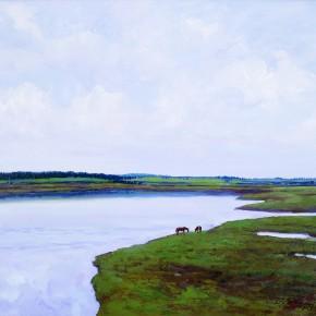 "02 Sun Jingbo, ""The Bank of Long Lake"", oil on canvas, 50 x 60 cm, 2002"