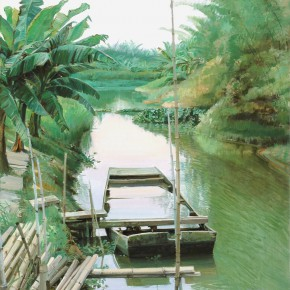 "02 Zhong Genglue ""A Boat near the Dock"" oil on linen 60 x 45 cm 2009  290x290 - Green Space: Infinite Memories - Zhong Genglue Painting Exhibition"