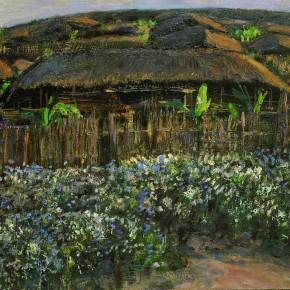 "03 Sun Jingbo, ""The Evening of Ximeng Wa Township in Yunnan"", oil on paper, 39 x 54 cm, 1980"