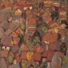 "04 Sun Jingbo, ""Wukeshu Village of the Stone Forest in Yunnan"", 79 x 54 cm, 1980"