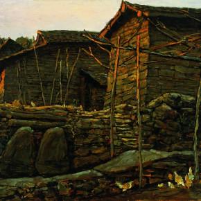 """05 Sun Jingbo, """"Yi Stone Houses of Gui Mountain in Yunnan"""", oil on paper, 54 x 79 cm, 1978"""