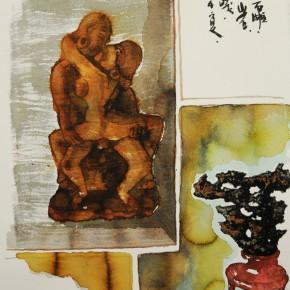 06 Chen Xi's watercolor painting 290x290 - Stein und Statue: Aquarelle von Chen Xi Held at Galerie Schillerstrasse Heidelberg, Germany