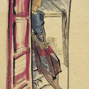 """08 Pei Yongmei """"The Girl under the Eave"""" colored ink on paper 50 x 80 cm 2003 290x290 - Pei Yongmei"""