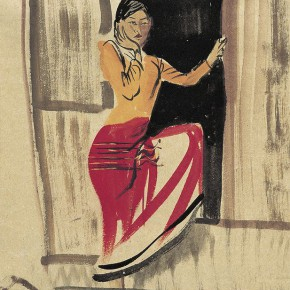"09 Pei Yongmei ""A Girl in Front of the Door"" colored ink on paper 50 x 80 cm 2003 290x290 - Pei Yongmei"