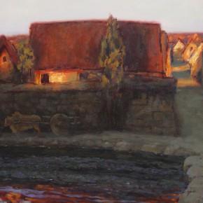 """09 Sun Jingbo, """"Twilight of the Yi Village"""", oil on paper, 39 x 54 cm, 1980"""