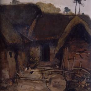 """10 Sun Jingbo, """"Yi Huts"""", oil on paper, 39 x 34 cm, 1980"""