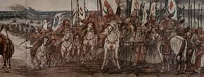 """102 Sun Jingbo, """"The Great Man – Genhis Khan – Mongolian Heroes"""", 320 x 838 cm, 2006"""