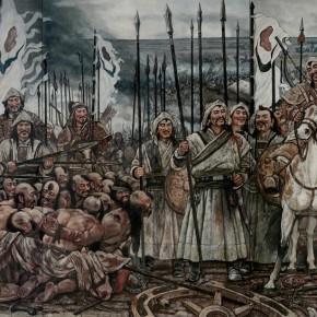 """103 Sun Jingbo, """"The Great Man – Genhis Khan – Mongolian Heroes"""", 320 x 838 cm, 2006 (detail)"""