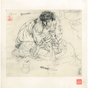 """105 Sun Jingbo, """"Ronglaozhaxi Sitting on the Side of the Fireplace"""", pen on paper, 24 x 26 cm, 1979"""