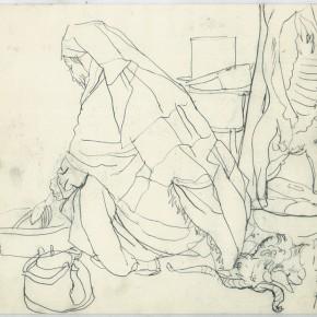 """107 Sun Jingbo, """"The Kazakh Grandma Killing a Sheep"""", pen on paper, 23 x 26 cm, 1979"""