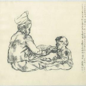 "108  Sun Jingbo, ""Feeding the Grandson"", pen on paper, 24 x 26 cm, 1982"