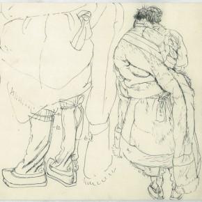 "109 Sun Jingbo, ""The Back of Laorongzhaxi"", pen on paper, 24 x 26 cm, 1979"