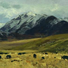 "11 Sun Jingbo, ""Snowfield Pasture"" oil on paper, 25 x 30 cm, 2000"