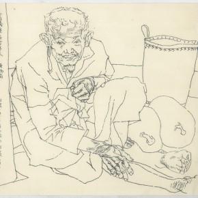 """111 Sun Jingbo, """"One-Hundred-Year-Old Man in Jingpo Mountain"""", pen on paper, 1982"""