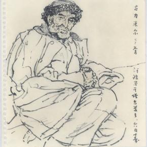 "113 Sun Jingbo, ""Gulimier Lying on His Left Side"", soil color Marker pen on paper, 26 x 26 cm, 2001"