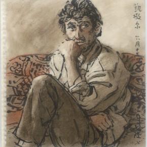 "114 Sun Jingbo, ""Kaisaer Good at Dancing and Singing"", soil color Marker pen on paper, 26 x 26 cm, 2001"