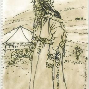 "119 Sun Jingbo, ""The Herdman-Girl Passing By"", Marker pen on paper, 36 x 26 cm, 2000"