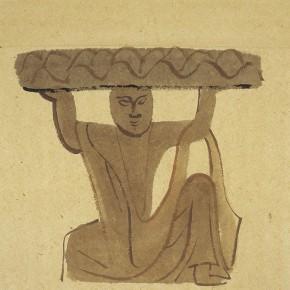 "12 Pei Yongmei ""Hercules – Diverted from Gongyi Cave Temple"" colored ink on paper 50 x 80 cm 2004 290x290 - Pei Yongmei"
