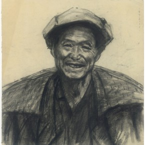 """121 Sun Jingbo, """"The Old Ferryman of the Bank of Chin-sha River"""", charcoal on paper, 29 x 28 cm, 1972"""