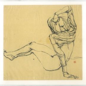 "123 Sun Jingbo, ""Capturing a Pose"", pen on feather edge paper, 1988"