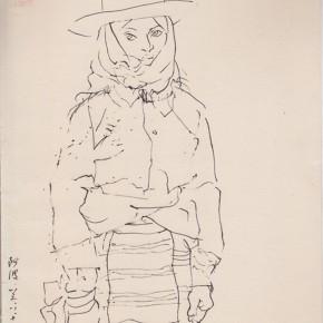 "126 Sun Jingbo, ""A Naqu Tibetan Girl"", pen on paper, 26 x 20 cm, 1983"