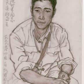 "127 Sun Jingbo, ""The 9th Company Instructor Ruan Zhuqing"", brown charcoal on paper, 1979"
