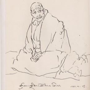 "129 Sun Jingbo, ""The Old Lama of Drepund"", pen on paper, 26 x 20 cm, 1983"