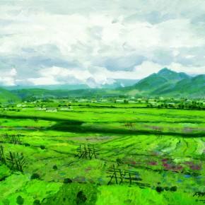 """13 Sun Jingbo, """"Shangri-La's Field"""", oil on canvas, 50 x 60 cm, 2005"""