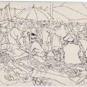 "131 Sun Jingbo, ""Bazaar of the South of Yunnan"", pen on paper, 20 x 27 cm, 1982"