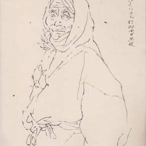 "133 Sun Jingbo, ""Baerda Tibetan Grandma"", pen on paper, 25 x 20 cm, 1983"