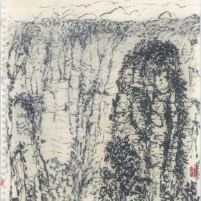 """135 Sun Jingbo, """"Zhangjiajie Huaping Mountain No.1"""", soil color Marker pen on paper, 37 x 26 cm, 2007"""