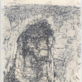 """136 Sun Jingbo, """"Zhangjiajie Huaping Mountain No.2"""", soil color Marker pen on paper, 37 x 26 cm, 2007"""