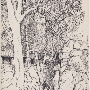 "139 Sun Jingbo, ""Landscape of Wukeshu Village of the Stone Forest"", pen on paper, 27 x 19 cm, 1980"