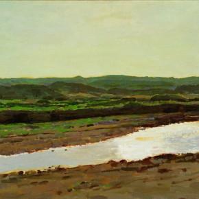 """14 Sun Jingbo, """"On the Road to Shuidonggou Ruins"""", oil on paper, 53 x 78.5 cm, 2000"""