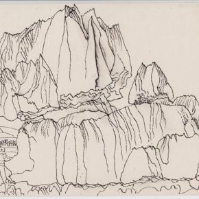 "140 Sun Jingbo, ""Portrait of the Odd Stones in the Stone Forest"", pen on paper, 19 x 27 cm, 1982"