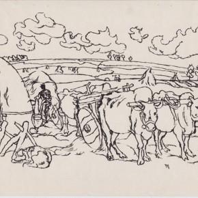 """143 Sun Jingbo, """"Gui Mountain in March"""", pen on paper, 18 x 26 cm, 1982"""