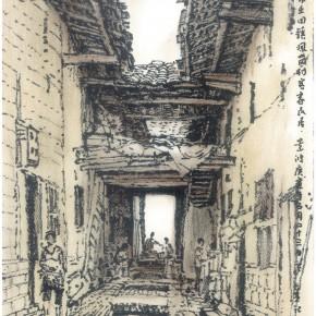 "144 Sun Jingbo, ""Ruijin Hakka Residence"", charcoal on paper, 42 x 30 cm, 2010"