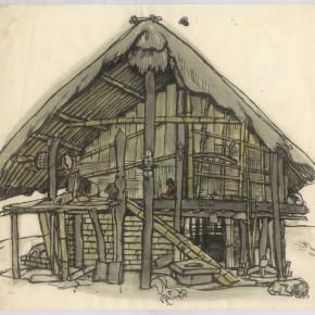 "146 Sun Jingbo, ""A Hut of Jingpo Mountain"", pen and light color on paper, 24 x 26 cm, 1982"