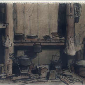 """147 Sun Jingbo, """"The Fireplace of a Xishuangbanna's Family"""", soil color Marker pen on paper, 26 x 35 cm, 2004"""