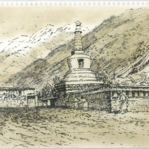 "149 Sun Jingbo, ""Little White Dagoba of Anchong Township"", Marker pen on paper, 26 x 36 cm, 2000"