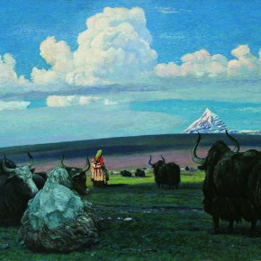 """15  Sun Jingbo, """"The Holy Mountain and Auspicious Clouds"""", oil on canvas, 80 x 115 cm, 1966"""