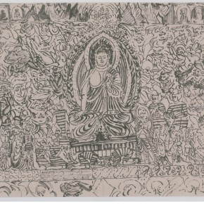 """151 Sun Jingbo, """"Dunhuang Mogao Grottoes in a Winter Day"""", 40 x 56 cm, soil color Marker pen on paper, 40 x 56 cm, 2001"""