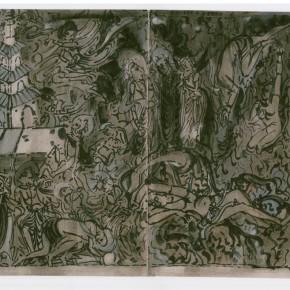 """152 Sun Jingbo, """"Xiangmobian (Story of Beating the Devils) of Northern Wei Dynasty, soil color Marker pen on paper, 28 x 40 cm, 2000"""