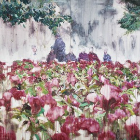 """19 Xu Hongxiang, """"Flowers"""", oil and acrylic on canvas, 180 x 260 cm, 2012"""