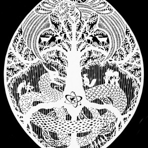 """20 Karen Bit Vejle """"Dragon Egg No.1"""" paper cut 80 x 100 cm 2014 290x290 - Chinese Dragon Encounters Nordic Dragon """"Paper Dialogue - The Dragon and Our Stories"""" Exhibition Opened at Today Art Museum"""