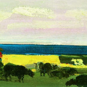 """20 Sun Jingbo, """"Qinghai Lake in Evening"""", oil on paper, 11 x 19 cm, 1979"""