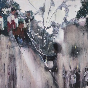 "20 Xu Hongxiang, ""Sliding Down"", oil and acrylic on canvas, 130 x 180 cm, 2012"