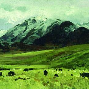 """22 Sun Jingbo, """"Snowfield Pasture of Qinghai Batang"""", 25 x 30 cm, 2000"""