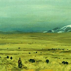 """23 Sun Jingbo, """"Snowfield Pasture of Qinghai Batang"""", 21 x 30 cm, 2000"""